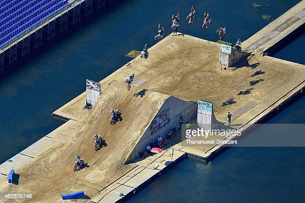 A Red Bull XFighter rider trains during the Red Bull XFighters World Tour on July 19 2014 in Munich Germany