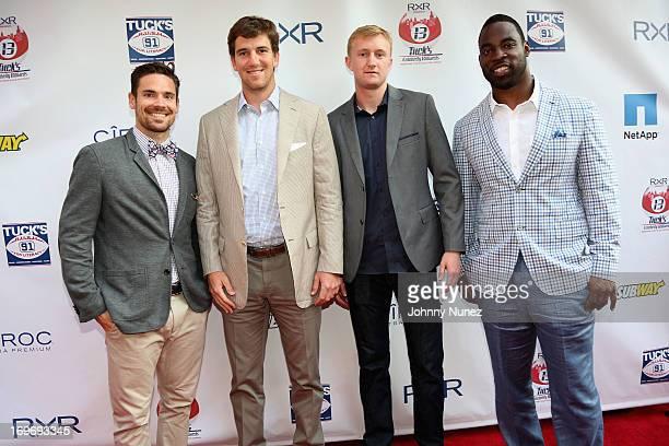 Red Bullls Heath Pearce, NY Giants Eli Manning, NY Red Bulls Ryan Meara and NY Giants Justin Tuck attend the NY Giants Justin Tuck's 5th Annual...