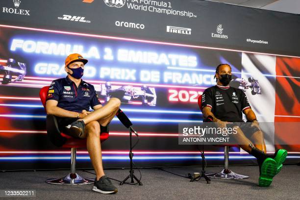 Red Bull's Dutch driver Max Verstappen and Mercedes' Britain driver Lewis Hamilton hold a press conference ahead of the French Formula One Grand Prix...