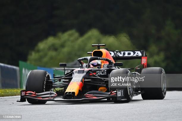 Red Bull's Dutch driver Max Verstappen competes during the Formula One Styrian Grand Prix at the Red Bull Ring race track in Spielberg, Austria, on...