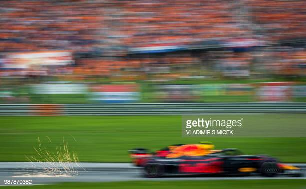 Red Bull's Dutch driver Max Verstappen competes during the qualifying session ahead ahead of the Austrian Formula One Grand Prix in Spielberg central...