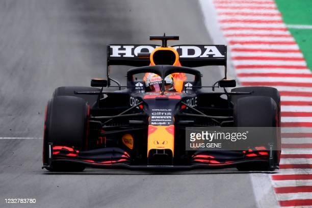 Red Bull's Dutch driver Max Verstappen competes during the Spanish Formula One Grand Prix race at the Circuit de Catalunya on May 9, 2021 in Montmelo...