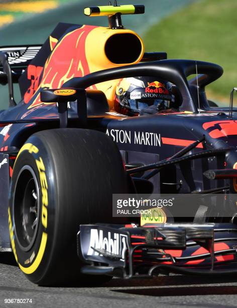 Red Bull's Dutch driver Max Verstappen drives around the Albert Park circuit during the second Formula One practice session in Melbourne on March 23...