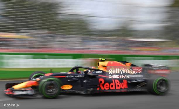 Red Bull's Dutch driver Max Verstappen drives around the Albert Park circuit during the third Formula One practice session in Melbourne on March 24...
