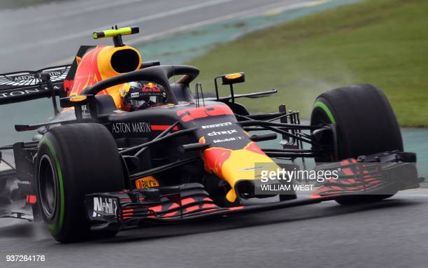 Red Bull's Dutch driver Max Verstappen drives around the Albert Park circuit during the Formula One qualifying session in Melbourne on March 24 ahead...