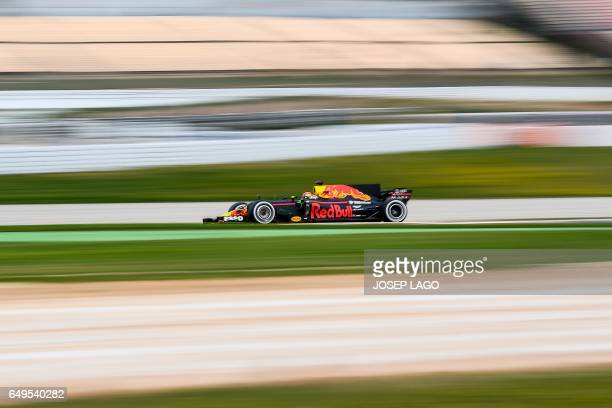 TOPSHOT Red Bulls' Dutch driver Max Verstappen drives at the Circuit de Barcelona Catalunya on March 8 2017 in Montmelo on the outskirts of Barcelona...