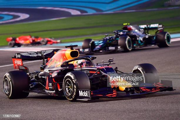 Red Bull's Dutch driver Max Verstappen drives during the Abu Dhabi Formula One Grand Prix at the Yas Marina Circuit in the Emirati city of Abu Dhabi...