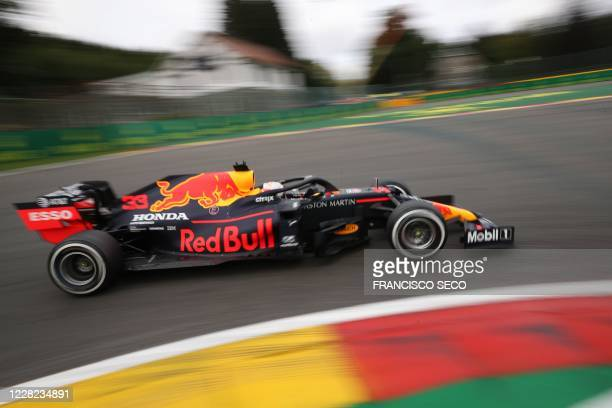 Red Bull's Dutch driver Max Verstappen drives during the first practice session at the Spa-Francorchamps circuit in Spa on August 28, 2020 ahead of...