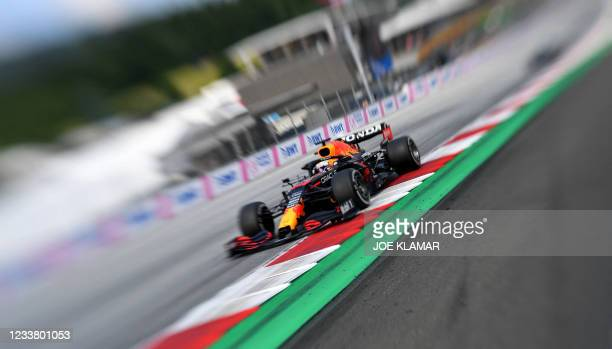 Red Bull's Dutch driver Max Verstappen drives during the Formula One Austrian Grand Prix at the Red Bull Ring race track in Spielberg, Austria, on...