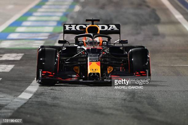 Red Bull's Dutch driver Max Verstappen drives during the qualifying session on the eve of the Bahrain Formula One Grand Prix at the Bahrain...