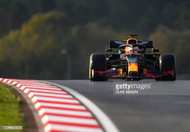 Red Bull's Dutch driver Max Verstappen drives during the second practice session at the Intecity Istanbul Park circuit in Istanbul on November 13,...