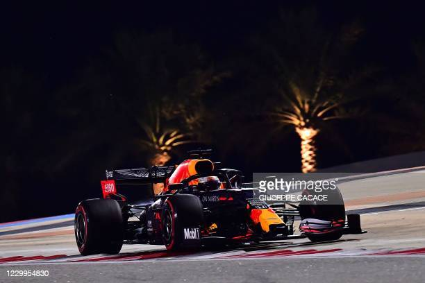 Red Bull's Dutch driver Max Verstappen drives during the third practice session ahead of the Bahrain Formula One Grand Prix at the Bahrain...