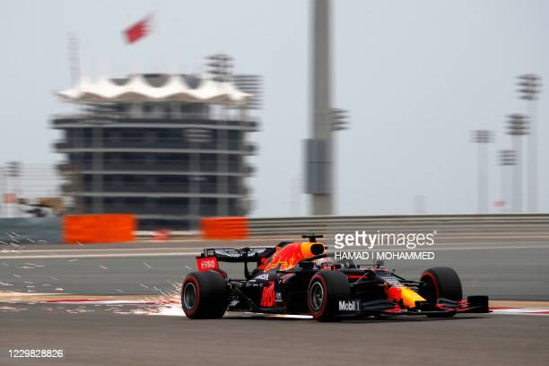 Red Bull's Dutch driver Max Verstappen drives during the third practice session on the eve of the Bahrain Formula One Grand Prix at the Bahrain...