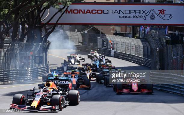 Red Bull's Dutch driver Max Verstappen , Ferrari's Spanish driver Carlos Sainz Jr and drivers compete during the Monaco Formula 1 Grand Prix at the...
