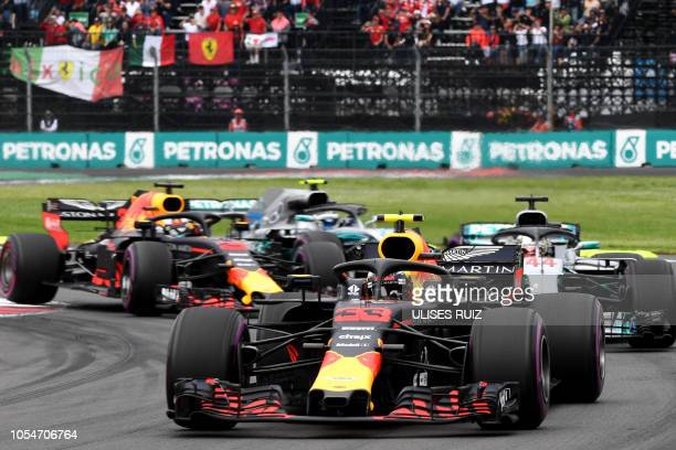 Red Bull's Dutch driver Max Verstappen powers his car during the F1 Mexico Grand Prix at the Hermanos Rodriguez circuit in Mexico City on October 28...