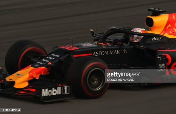 Red Bull's Dutch driver Max Verstappen powers his car during the F1 Brazil Grand Prix, at the Interlagos racetrack in Sao Paulo, Brazil on November...