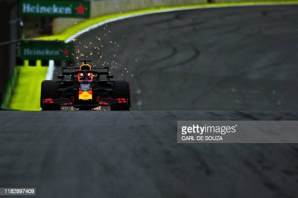 Red Bull's Dutch driver Max Verstappen powers his car to take pole position for the F1 Brazil Grand Prix in the qualifying session at the Interlagos...