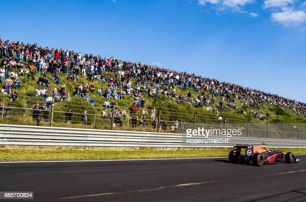 Red Bull's Dutch driver Max Verstappen races during the Jumbo Formula 1 Racing Days at the Circuit Park Zandvoort in Zandvoort, The Netherlands, on...