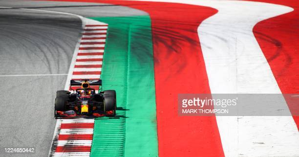 Red Bull's Dutch driver Max Verstappen steers his car during the qualifying round at the Austrian Formula One Grand Prix on July 4, 2020 in...