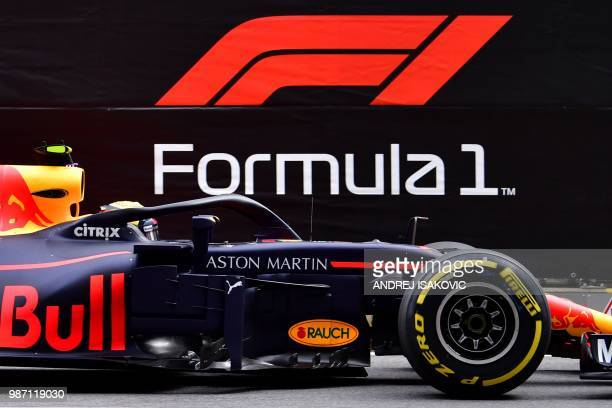 Red Bull's Dutch driver Max Verstappen steers his car during the second practice session ahead of the Austrian Formula One Grand Prix in Spielberg...