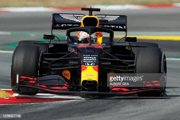 TOPSHOT Red Bull's Dutch driver Max Verstappen takes part in the first practice session at the Circuit de Catalunya in Montmelo near Barcelona on...