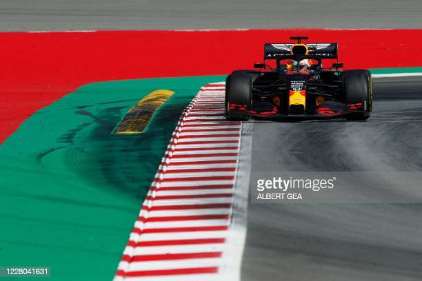 Red Bull's Dutch driver Max Verstappen takes part in the second practice session at the Circuit de Catalunya in Montmelo near Barcelona on August 14,...