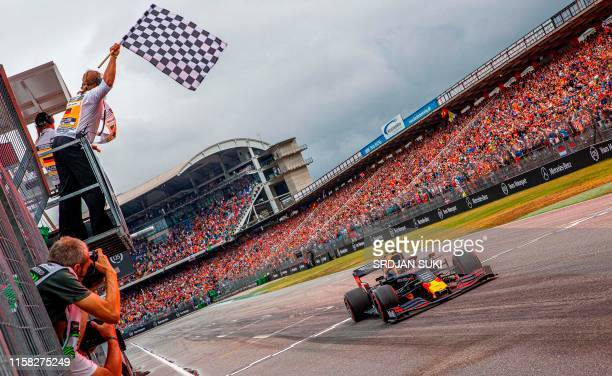 Red Bull's Dutch driver Max Verstappen wins the German Formula One Grand Prix at the Hockenheim racing circuit on July 28 2019 in Hockenheim southern...