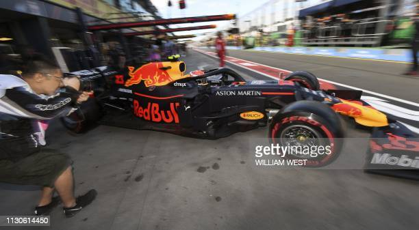 TOPSHOT Red Bull's French driver Pierre Gasly speeds out of the pit lane during the first Formula One practice session in Melbourne on March 15 ahead...