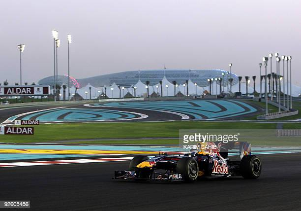 Red Bull's German driver Sebastian Vettel drives at the Yas Marina Circuit on November 1 2009 in Abu Dhabi during the Abu Dhabi Formula One Grand...