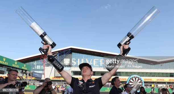 Red Bull's Max Verstappen with a tshirt cannon during the paddock day of the 2018 British Grand Prix at Silverstone Circuit Towcester