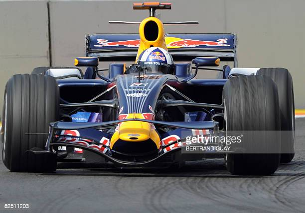 Red Bull's Scottish driver David Coulthard drives at the Valencia street circuit on August 22 during the first practice session of the Formula One...