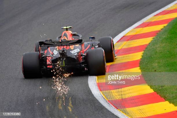 Red Bull's Thai driver Alex Albon competes during the qualifying session at the Spa-Francorchamps circuit in Spa on August 29, 2020 ahead of the...