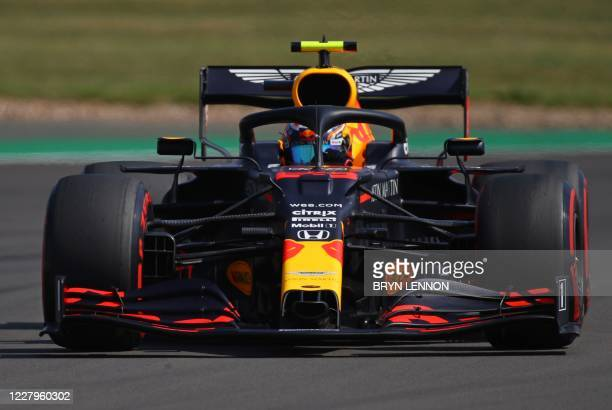 Red Bull's Thai driver Alex Albon during the third practice session of the F1 70th Anniversary Grand Prix at Silverstone on August 8, 2020 in...