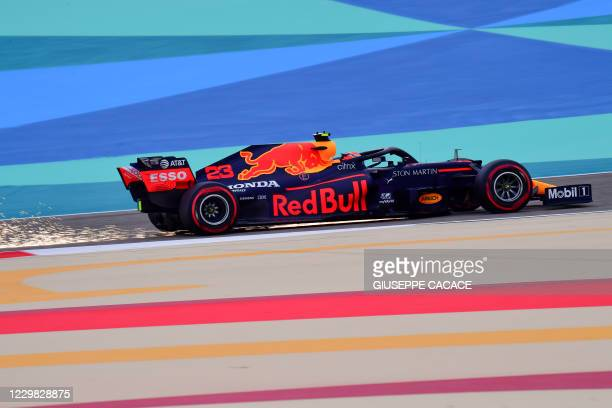Red Bull's Thai driver Alex Albon during the third practice session on the eve of the Bahrain Formula One Grand Prix at the Bahrain International...