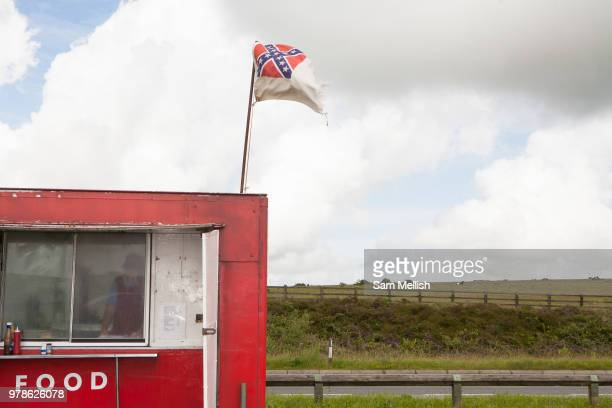A red burger van parked at Bodmin Moor layby along the A30 on the 23rd June 2008 in Bodmin in the United Kingdom