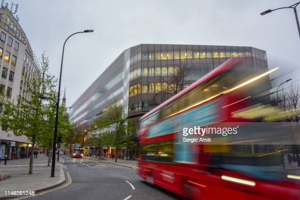Red bus in the City of London