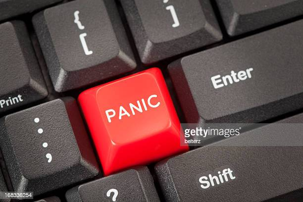 Red button marked panic on computer keyboard