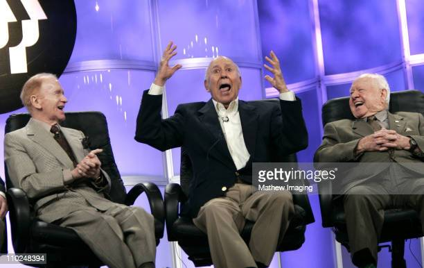 Red Buttons Carl Reiner and Mickey Rooney during PBS TCA Press Tour 2005 Presents The Pioneers of Primetime at The Beverly Hilton in Beverly Hills...