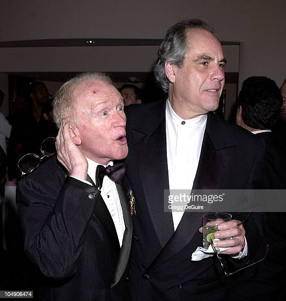 Red Buttons & Robert Klein during Milton Berle's 93rd Birthday Celebration at Beverly Hills Hotel in Beverly Hills, California, United States.