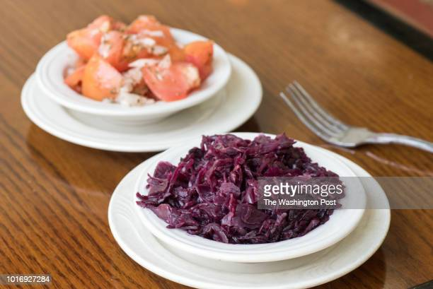 Red Cabbage Tomato Salad at Cafe Mozart in Washington DC on August 12 2018