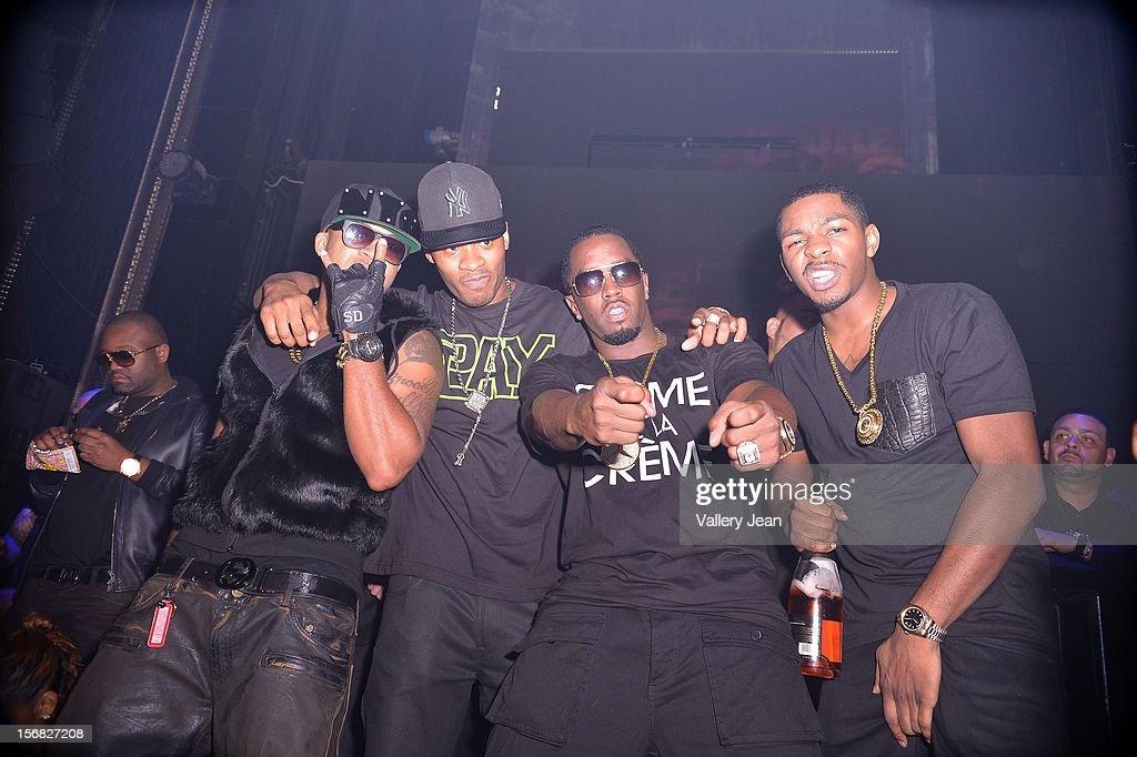 Red Cafe, Guest, P. Diddy and King Los celebrate Thanksgiving at at Bamboo Miami on November 21, 2012 in Miami, Florida.