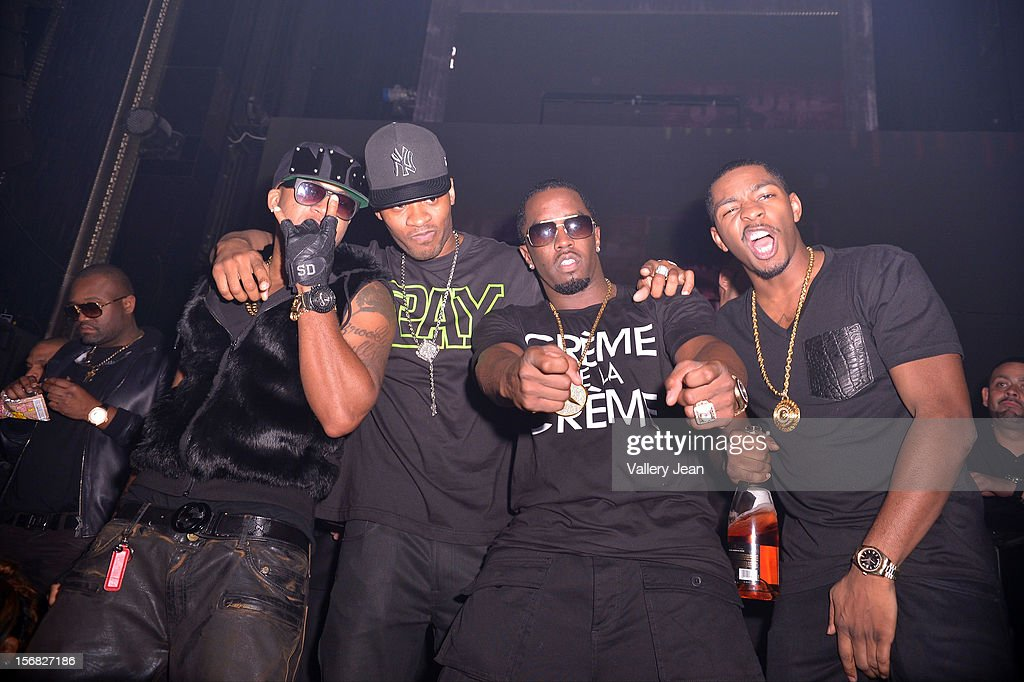 Red Cafe, Guest, P. Diddy and King Los celebrate Thanksgiving at Bamboo Miami on November 21, 2012 in Miami, Florida.