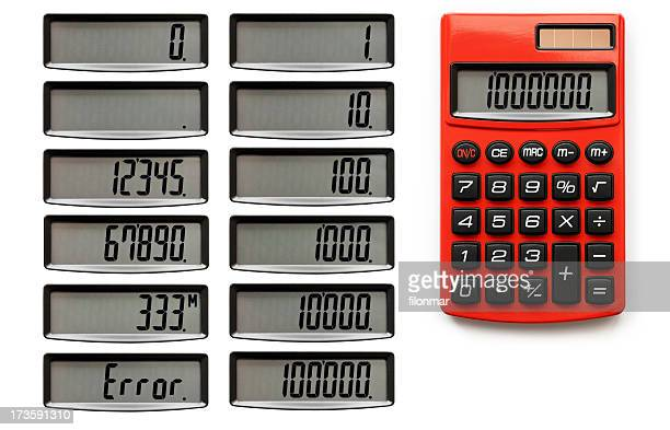 red calculator - calculator stock photos and pictures