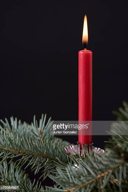 A red candle with pine needles