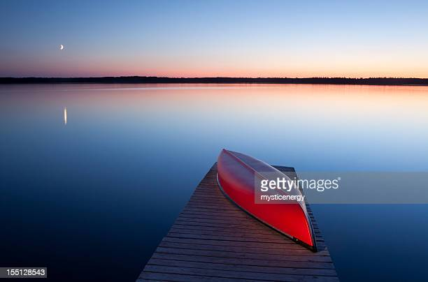 red canoe - manitoba stock pictures, royalty-free photos & images