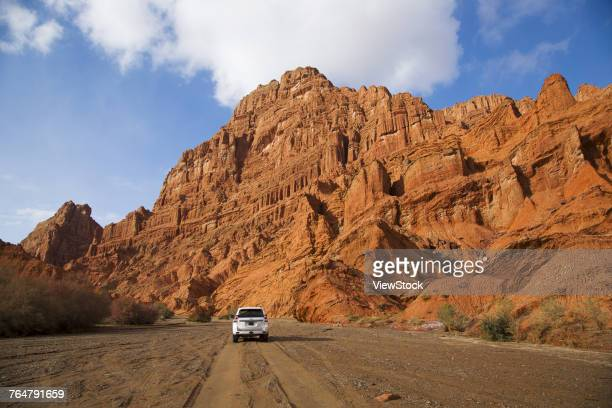 Red canyon scenery of Kuche County,Sinkiang,China