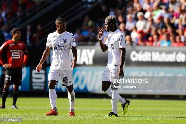 Red card for Aaron Leya Iseka of Toulouse during the Ligue 1 match between Rennes and Toulouse at Roazhon Park on September 30 2018 in Rennes France