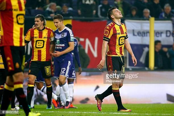 Red card for Aleksandar Bjelica defender of KV Mechelen pictured during the Jupiler Pro League match between RSC Anderlecht and KV Mechelen on , in...