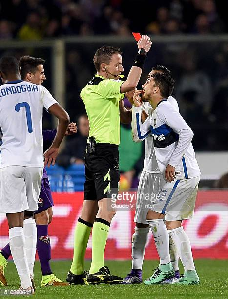 Red card for Alex Telles of FC Internazionale during the Serie A match between ACF Fiorentina and FC Internazionale Milano at Stadio Artemio Franchi...