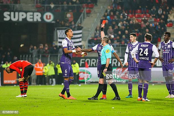 Red Card for Christopher Jullien of Toulouse during the French Ligue 1 match between Rennes and Toulouse at Roazhon Park on November 25, 2016 in...
